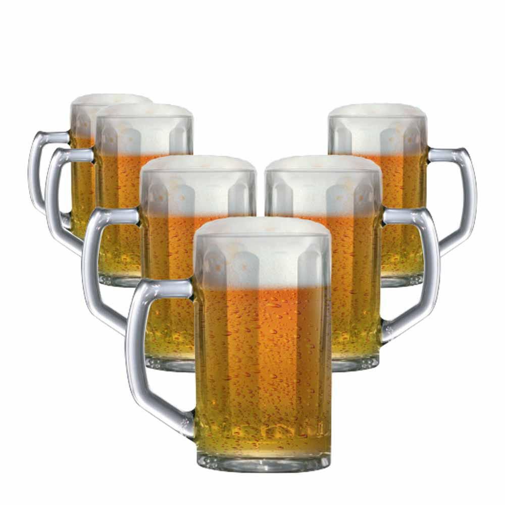 Caneca de Chopp de Vidro Cerveja Brema M Canelada 350ml 6 Pcs