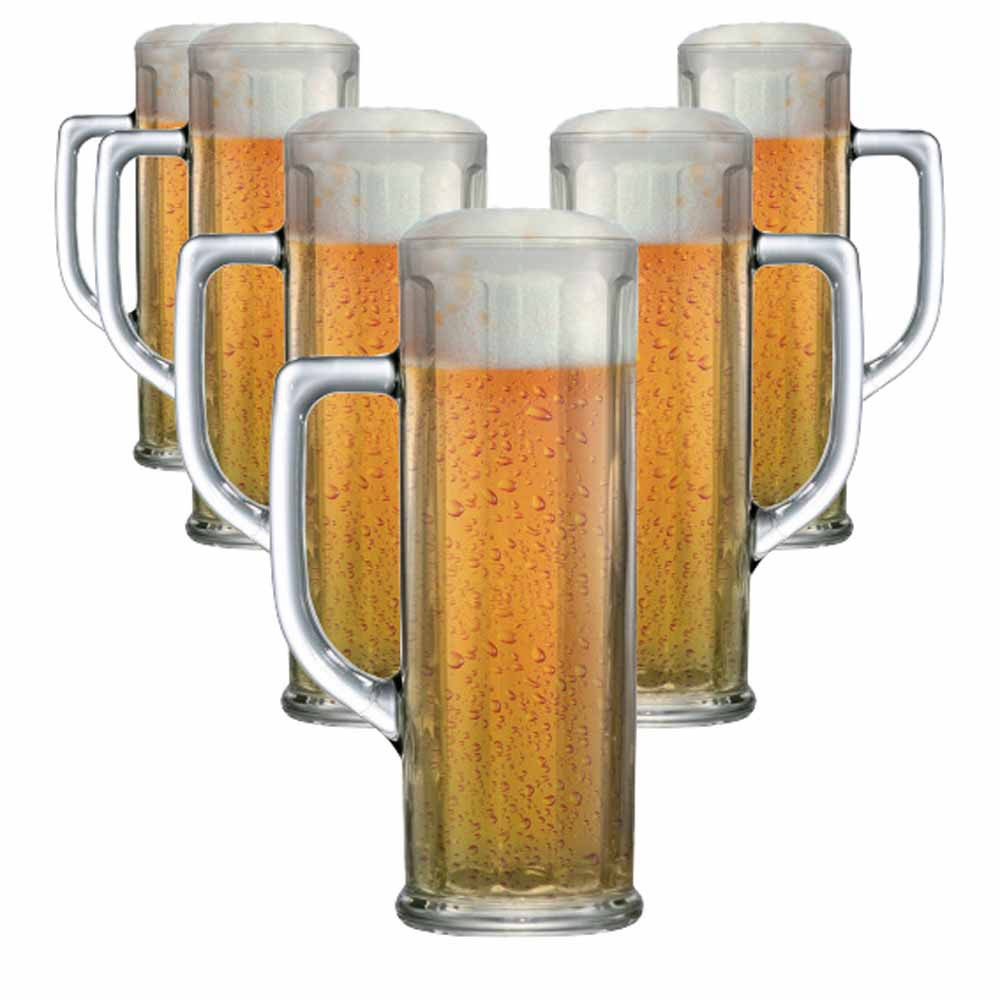 Caneca de Chopp de Vidro Cerveja Danubio G Canelada 630ml 6 Pcs