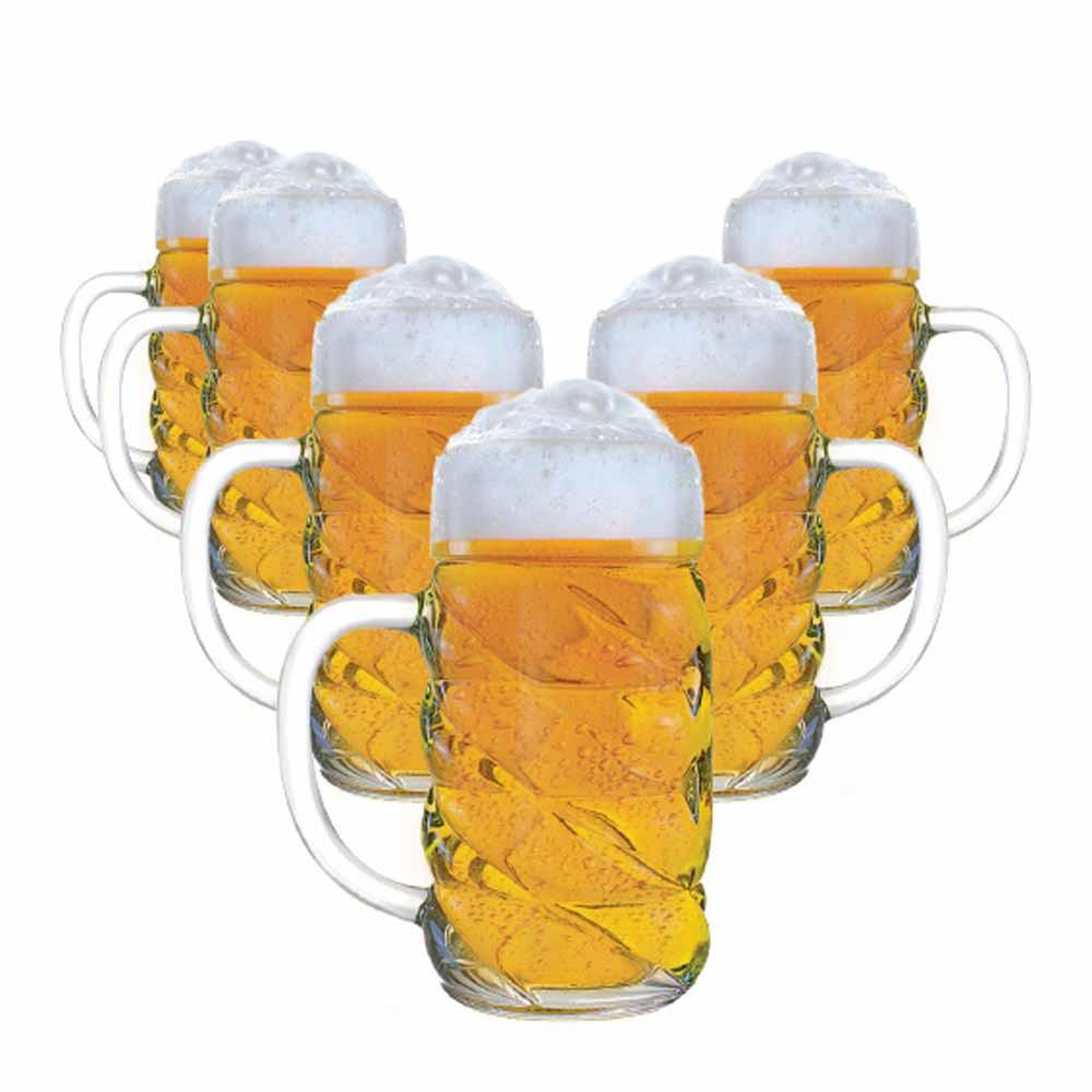 Caneca de Chopp de Vidro Cerveja Diamond M 650ml 6 Pcs