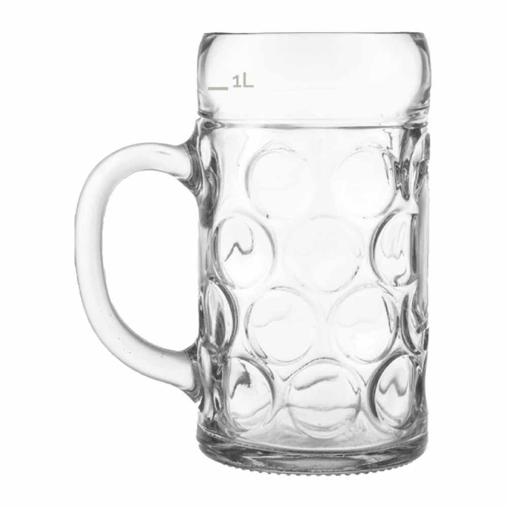 Caneca de Chopp de Vidro Cerveja Mass Krug G Vidro 1250ml 12 Pcs