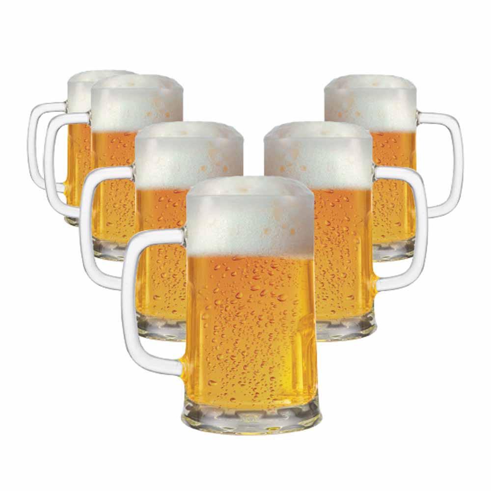 Caneca de Chopp de Vidro Cerveja Tudor M 680ml 6 Pcs