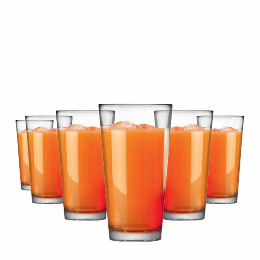 Jogo Copos Água Suco Conic Mix Vidro 415ml 6 Pcs