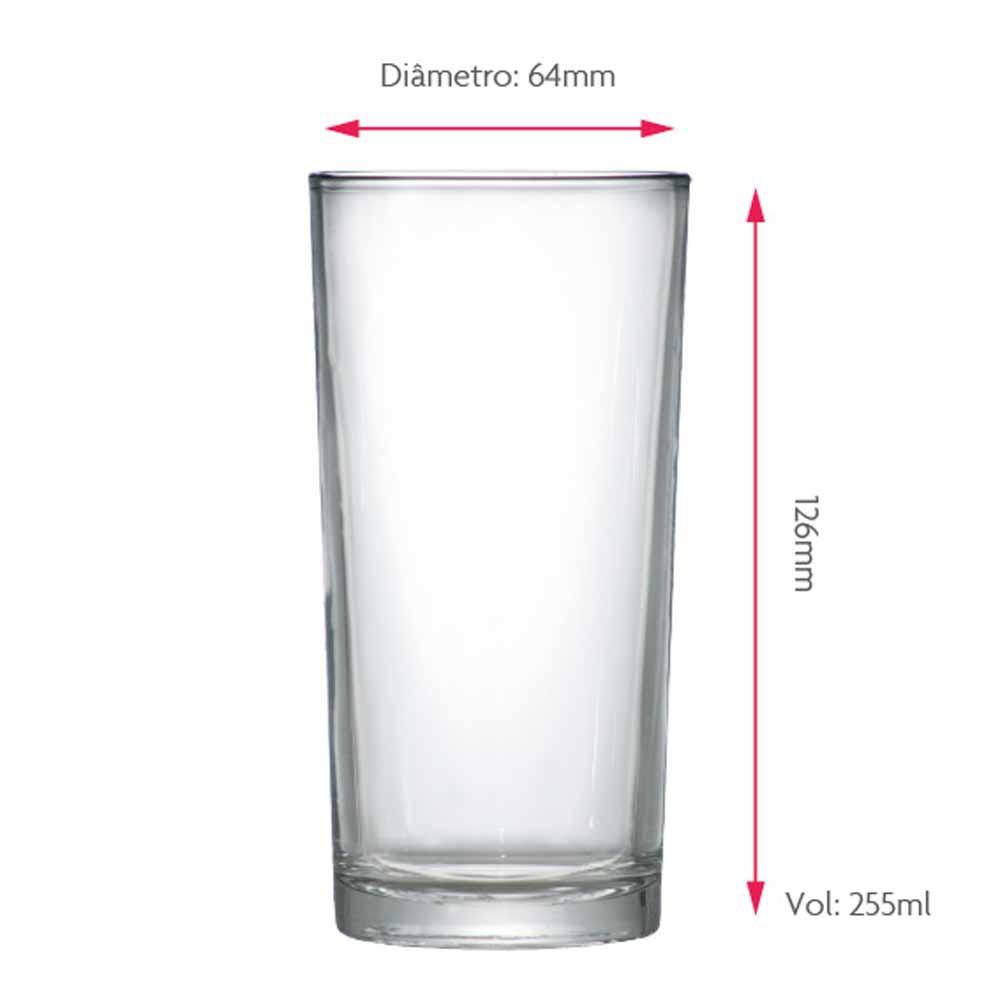 Jogo Copos Água Suco Multiuso Vidro 255ml 12 Pcs