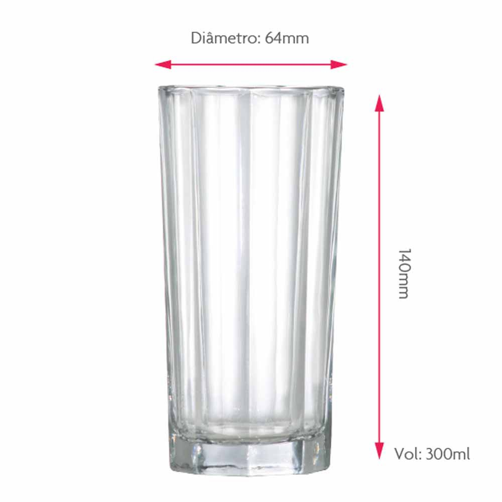 Jogo Copos Água Suco Octon Vidro 300ml 6 Pcs