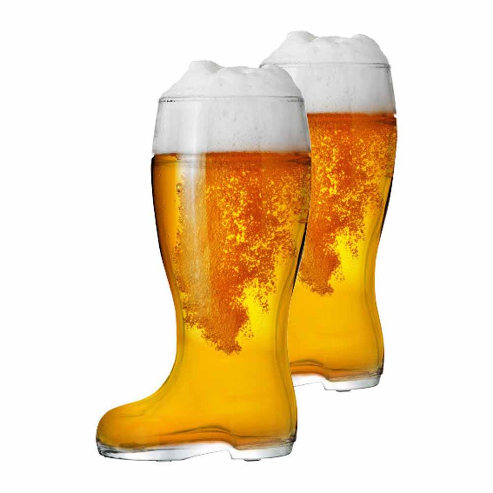 Copo de Cerveja de Vidro no Formato Bota Stiefel G 1210ml 2 Pcs