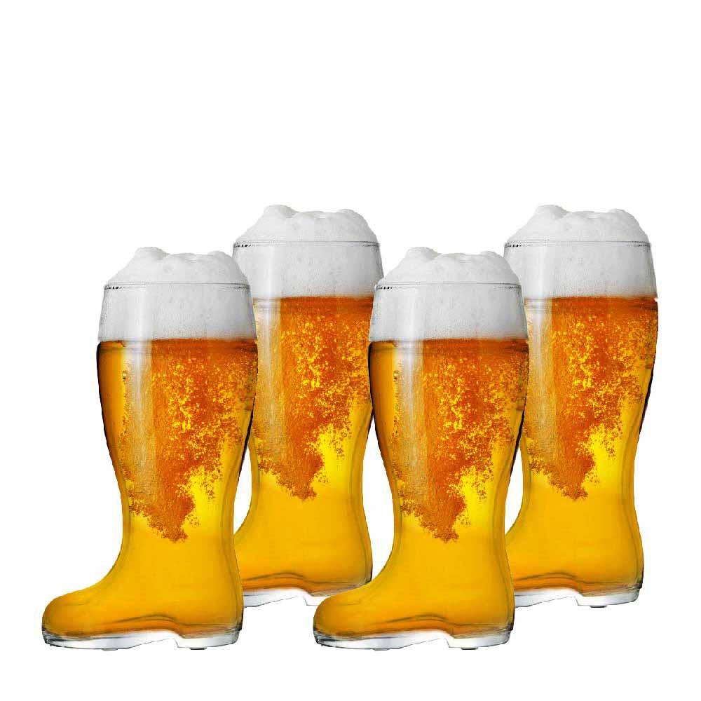 Jogo Copos Bota Cerveja Bota Stiefel G Vidro 1210ml 4 Pcs