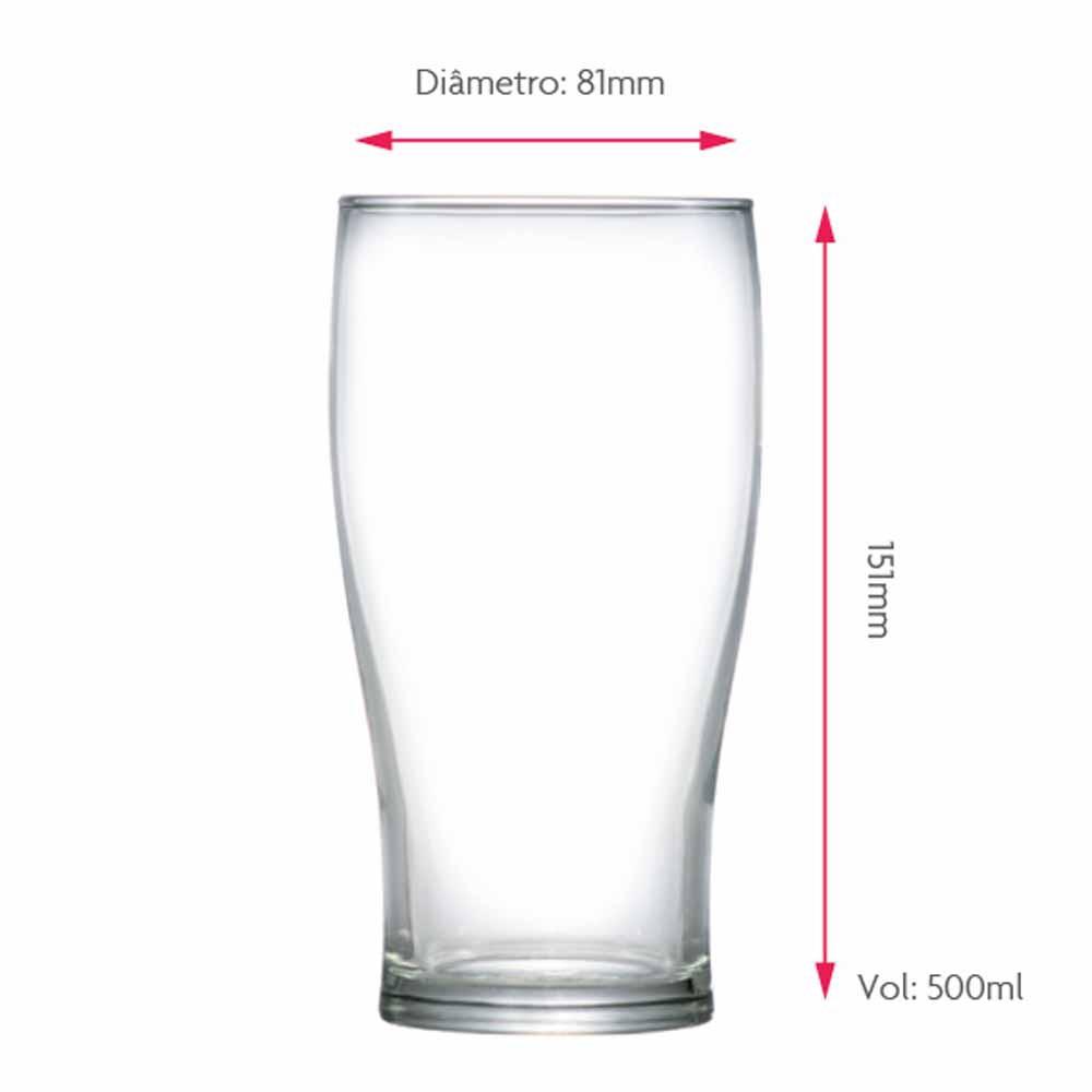 Copo de Cerveja de Vidro American Pint 500ml 6 Pcs