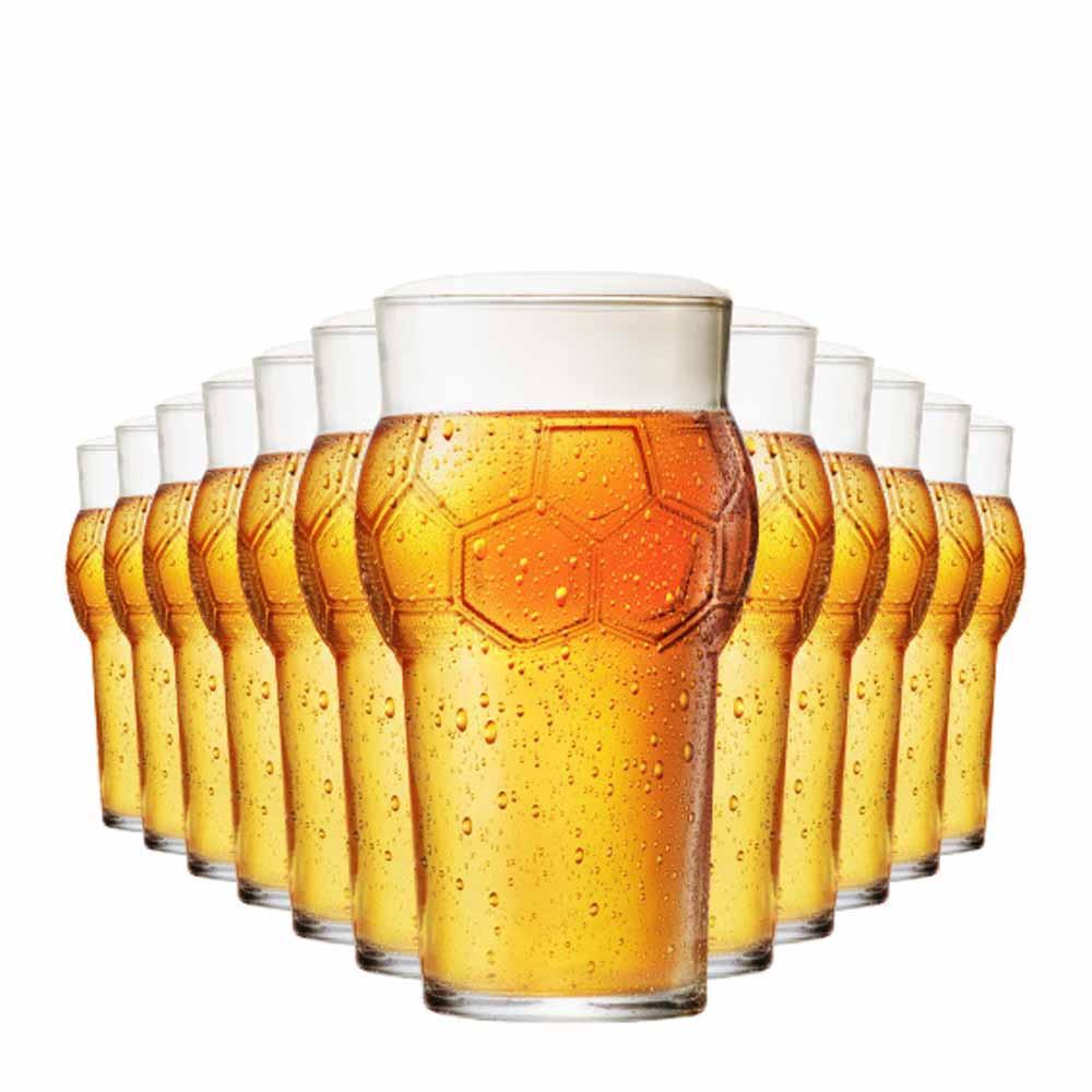 Jogo Copos Cerveja Futebol Vidro 580ml 12 Pcs