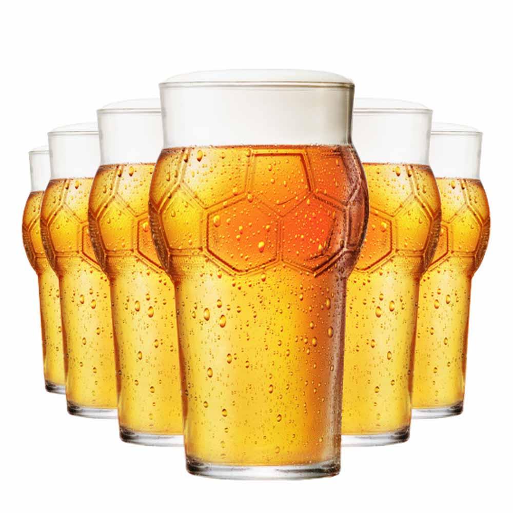 Jogo Copos Cerveja Futebol Vidro 580ml 6 Pcs