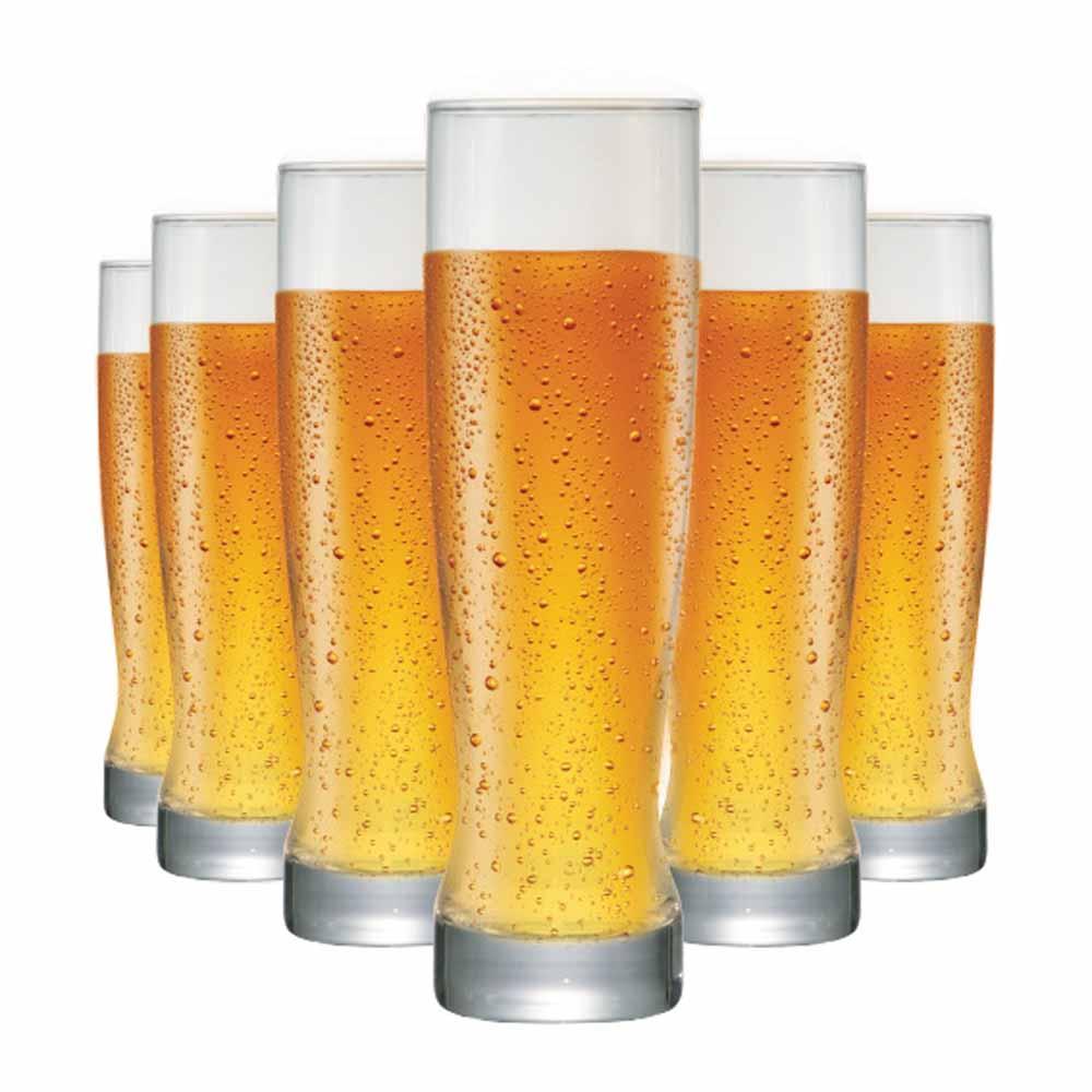 Copo de Cerveja de Vidro Genebra 400ml 6 Pcs