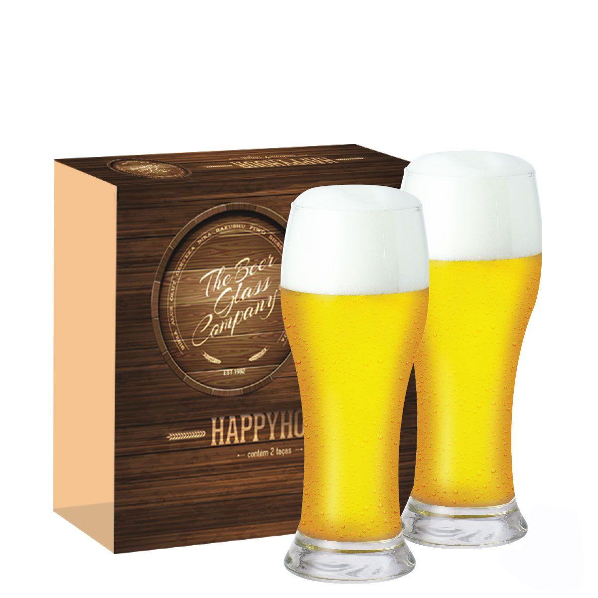 Jogo Copos Cerveja Happy Hour Brasserie 2 Pçs Vidro 590ml QE