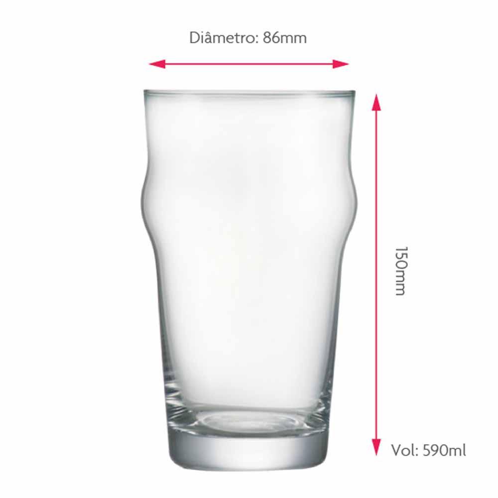 Copo de Cerveja de Vidro Nonic G 590ml 12 Pcs