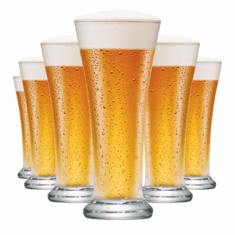 Copo de Cerveja de Vidro Pilsen 275ml 6 Pcs