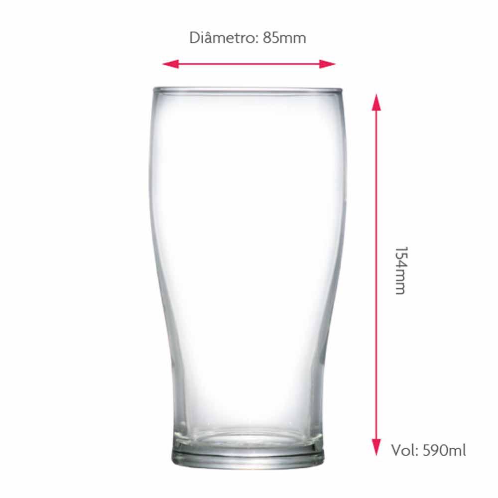 Copo de Cerveja de Vidro Pint 590ml 12 Pcs