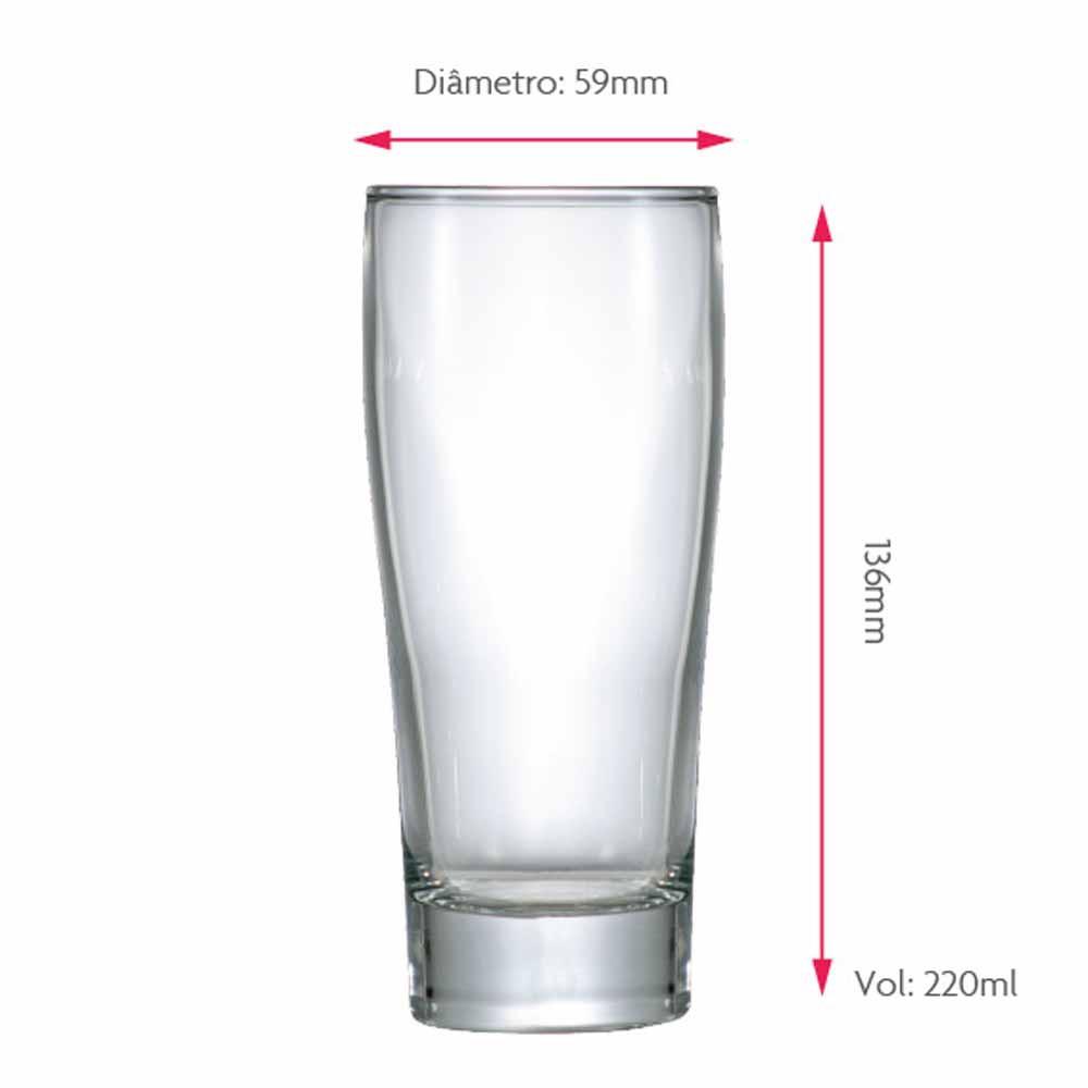 Copo de Cerveja de Vidro Prime P 220ml 12 Pcs