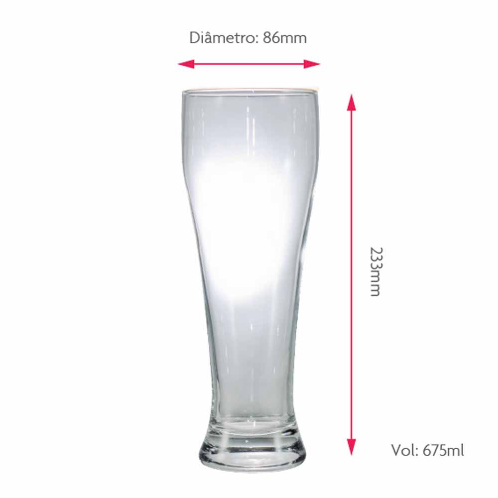Copo de Cerveja de Vidro Weiss G 675ml 6 Pcs