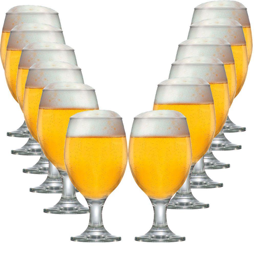 Jogo Copos Taças Cerveja Vidro Conjunto Roma 400ml 12 Peças