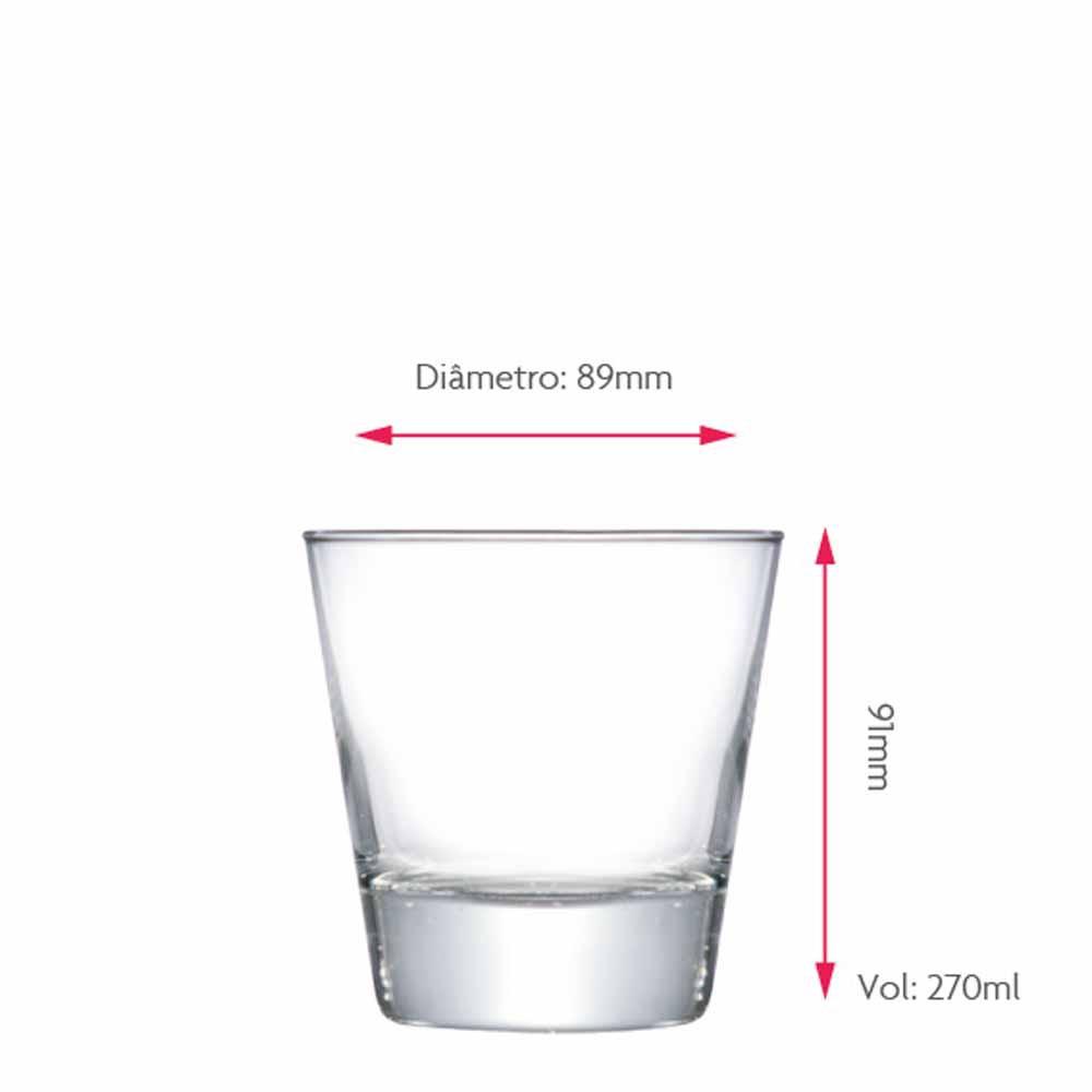 Jogo Copos Whisky Conico Stockholm Vidro 270ml 12 Pcs