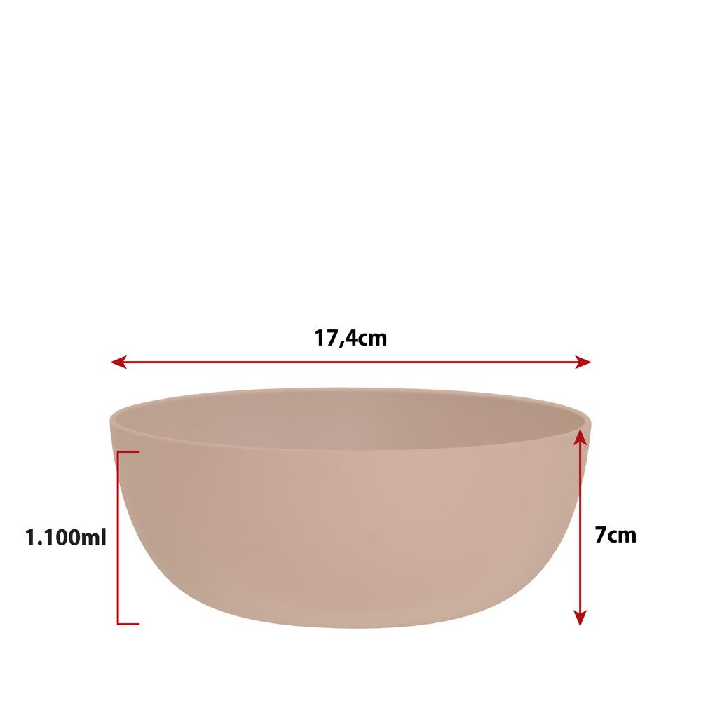 Jogo de Bowl de Plástico  Tigela de Plástico Grande Bege 1.1L 4Pcs