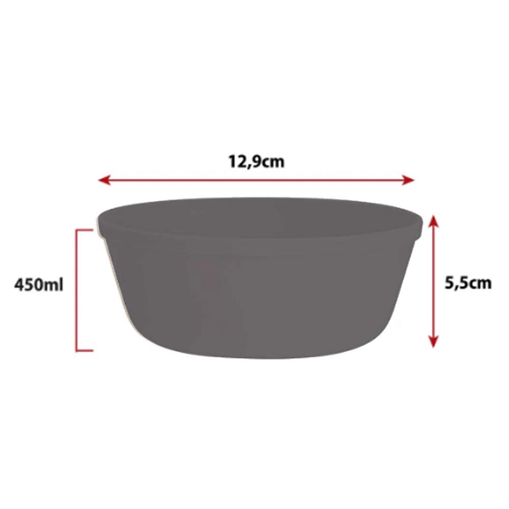Jogo de Bowl de Plástico  Tigela de Plástico Pequeno Cinza 450ml 4Pcs