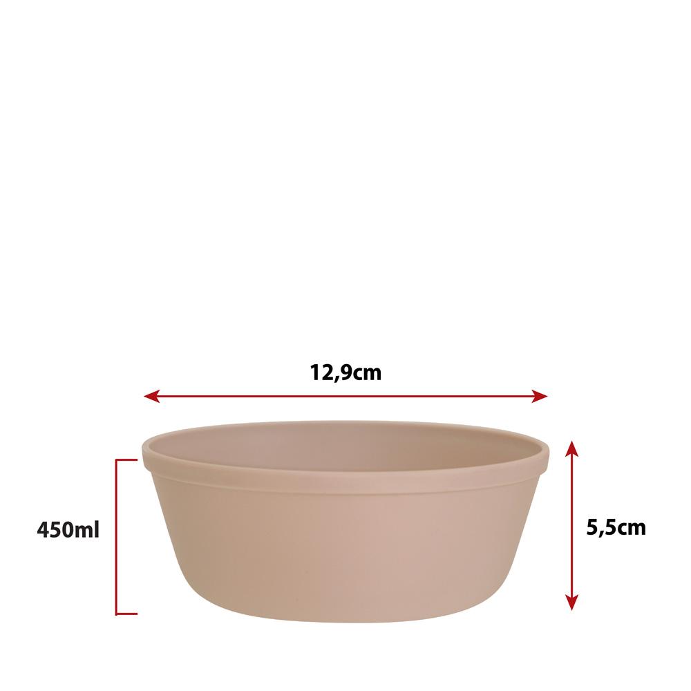 Jogo de Bowl de Plástico Tigela de Plástico Pequeno Bege 450ml 4Pcs