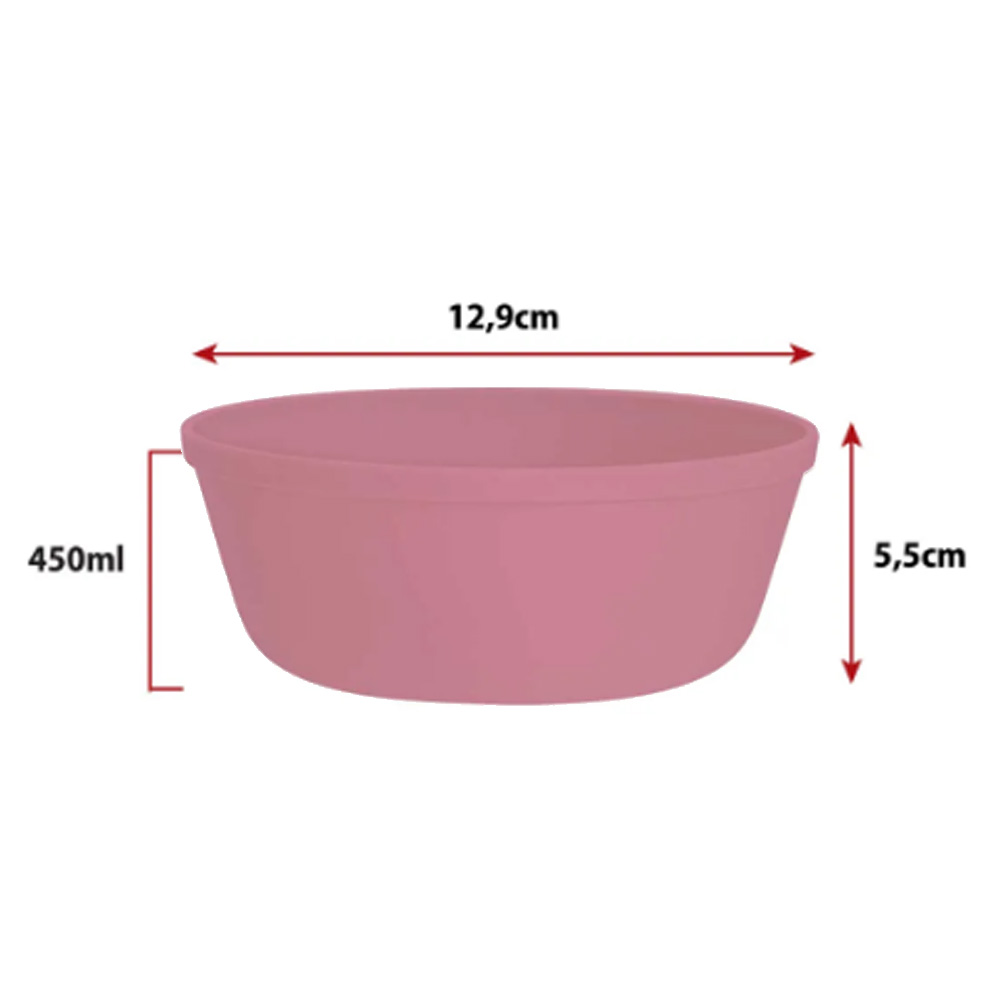 Jogo de Bowl de Plástico  Tigela de Plástico Pequeno Rosê 450ml 4Pcs