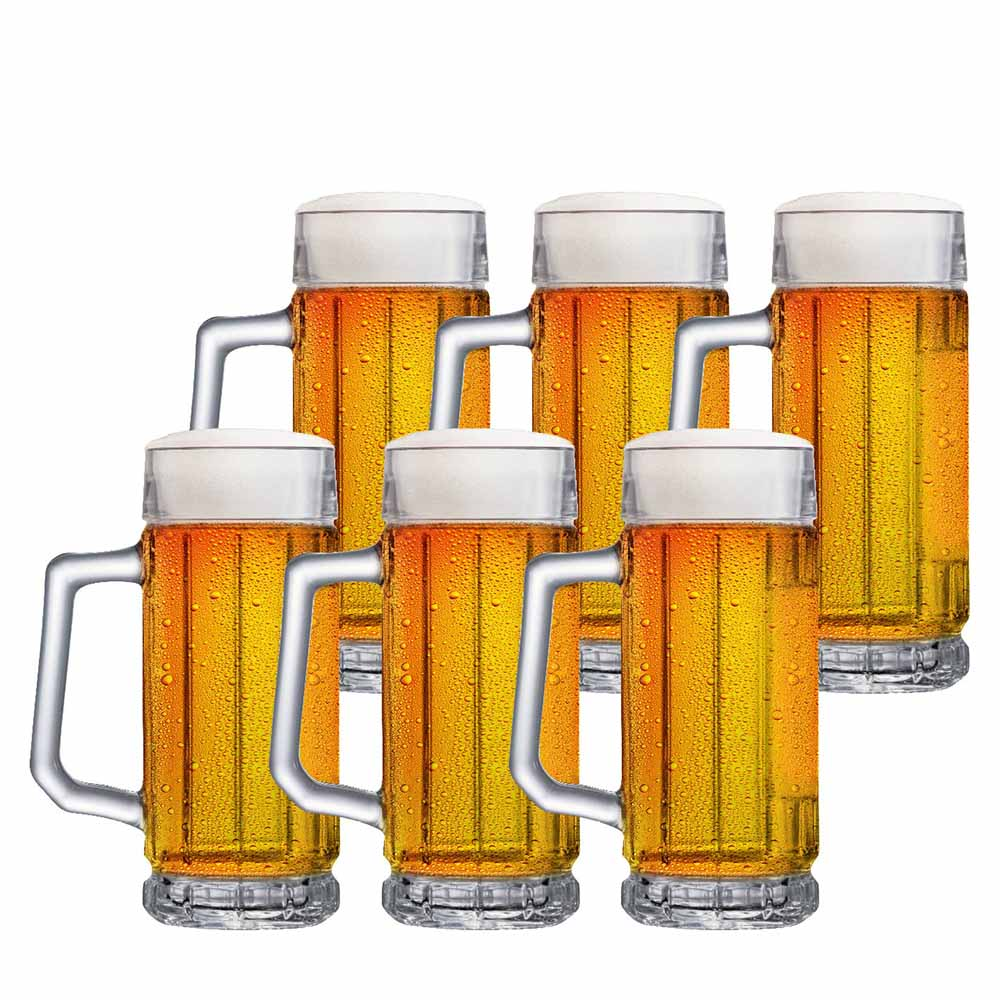 Caneca de Chopp de Vidro Cerveja Alaska 365ml 6 Pcs