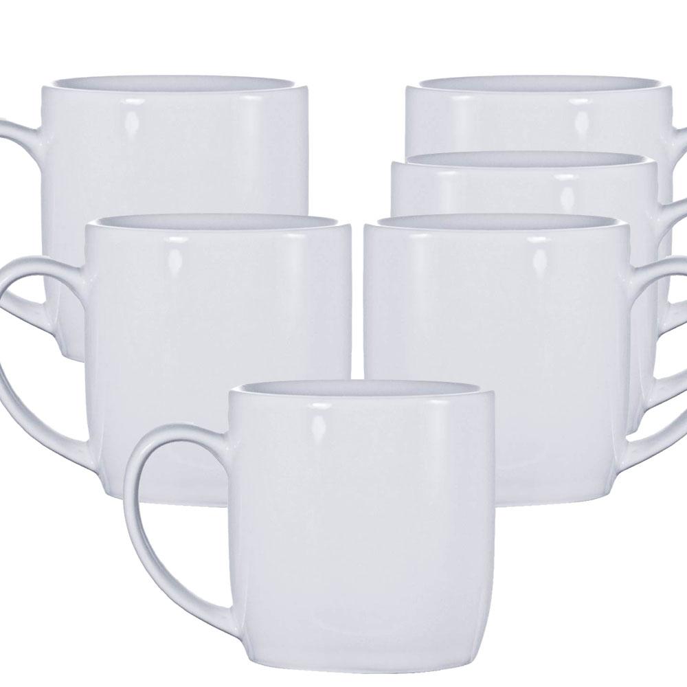 Jogo de Canecas de Porcelana Branca 1ª Linha Conjunto 6 Pcs