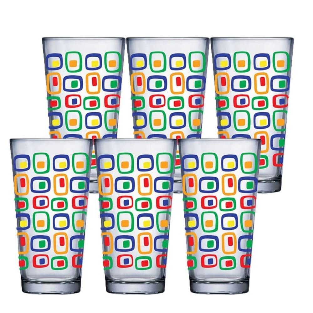 Jogo de Copo de Água de Vidro Conic Mix Cubic 415ml 6 Pcs