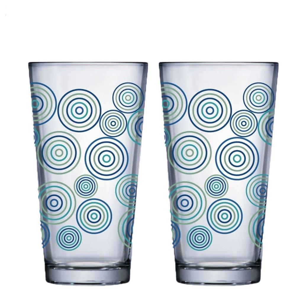 Jogo de Copo de Água de Vidro Conic Mix Rings 415ml 2 Pcs