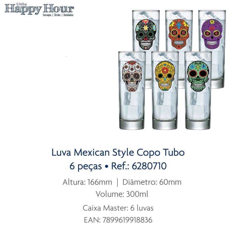 Jogo de Copo de Água Mexican Style Tubo 300ml 6 Pcs QE