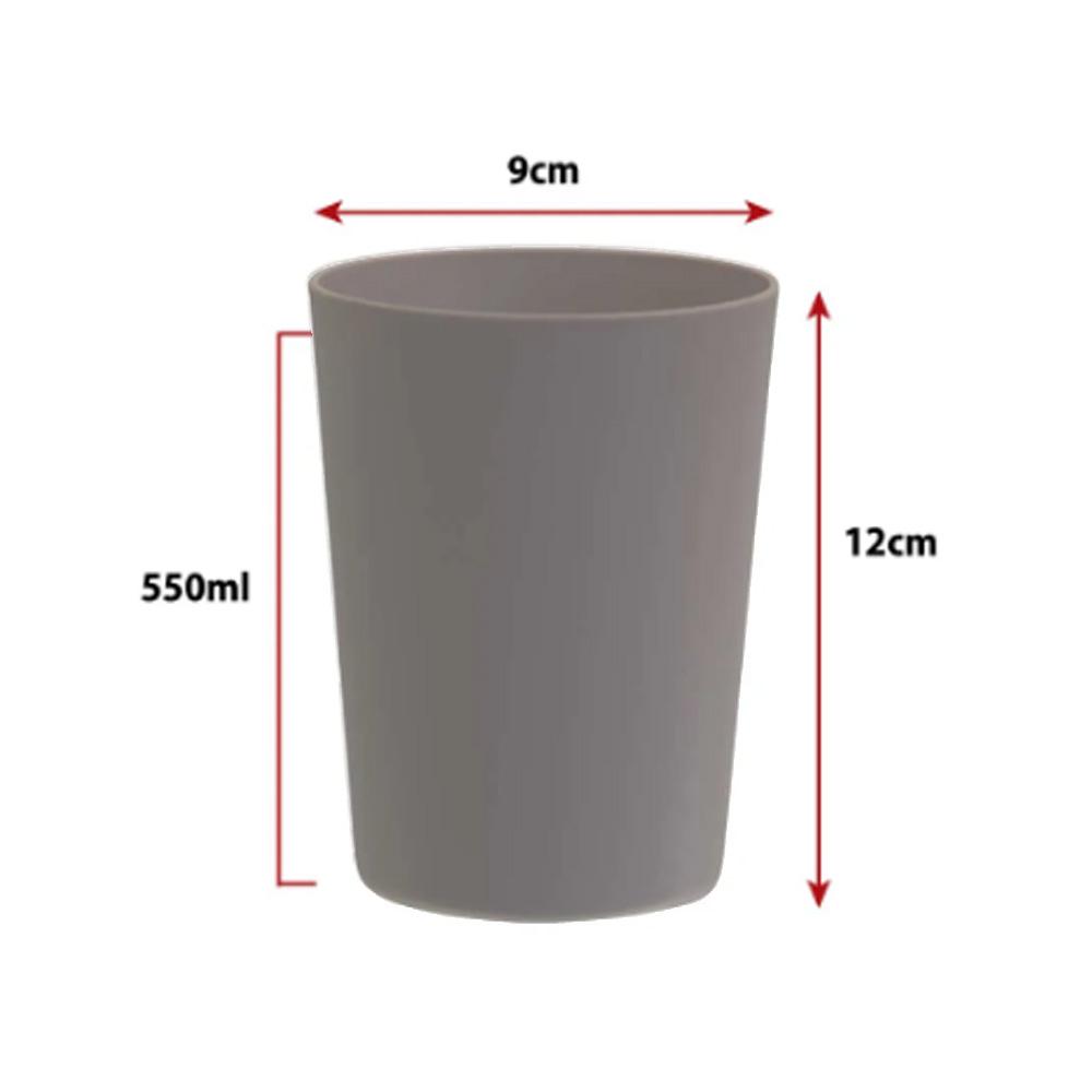 Jogo de Copo Plástico Sem Borda Cinza Concreto 550ml 4 Pcs