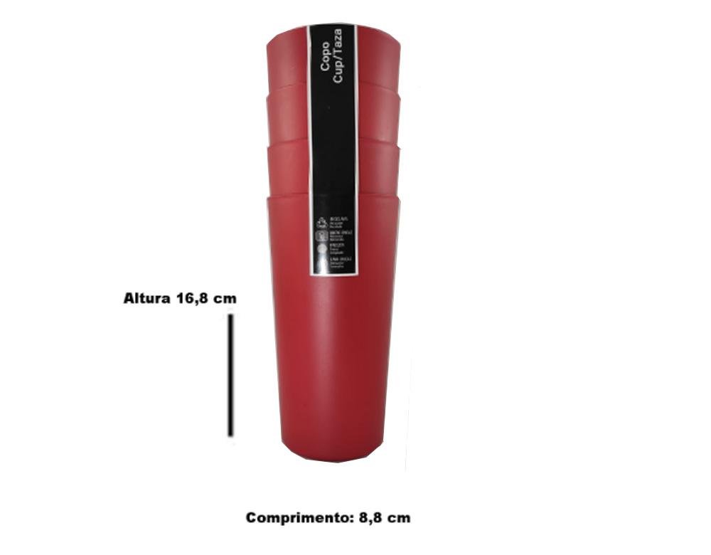 Jogo de Copo Plástico Sem Borda Vermelho 750ml 4 Pcs