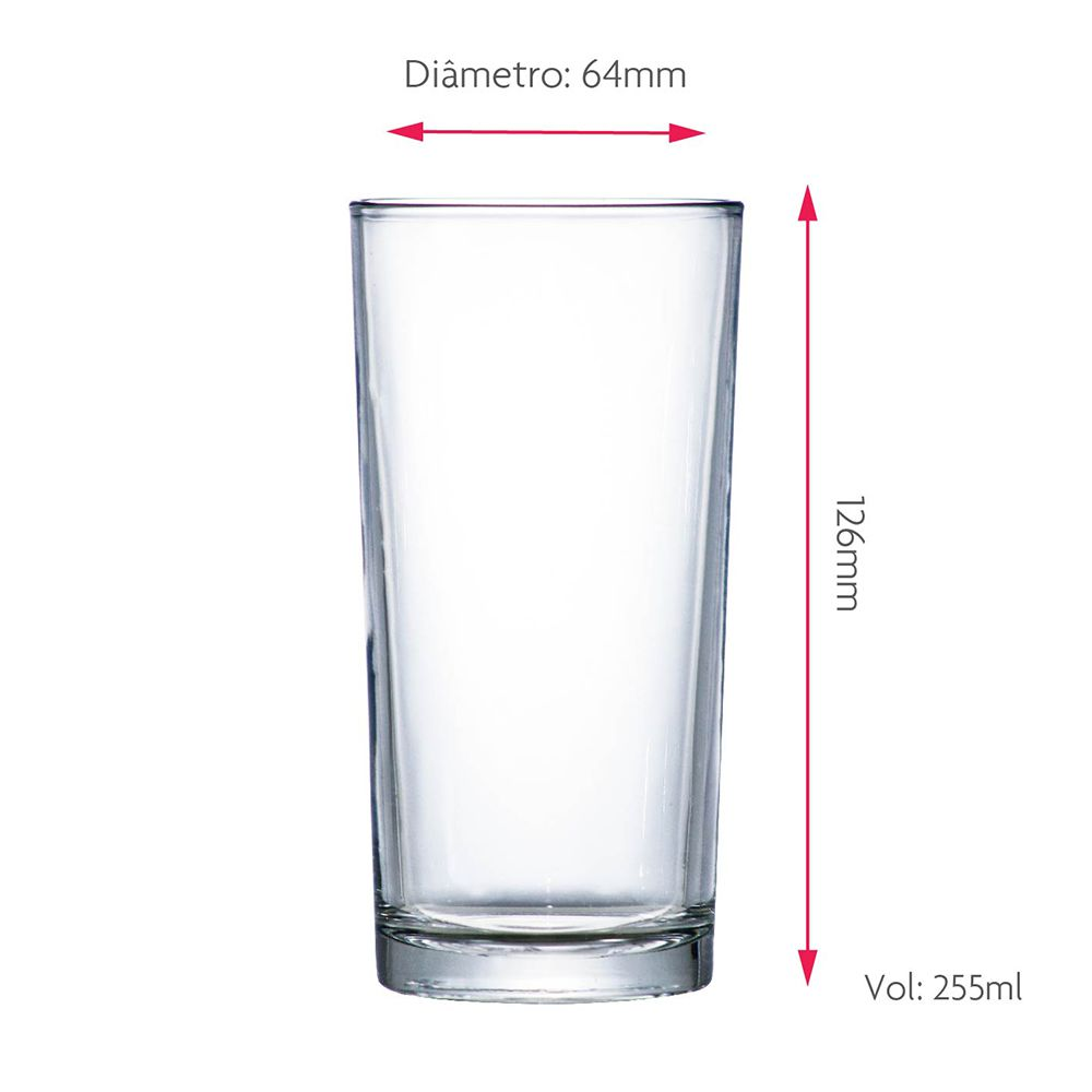 Jogo Copos Água Suco Multiuso Vidro 255ml 4 Pcs