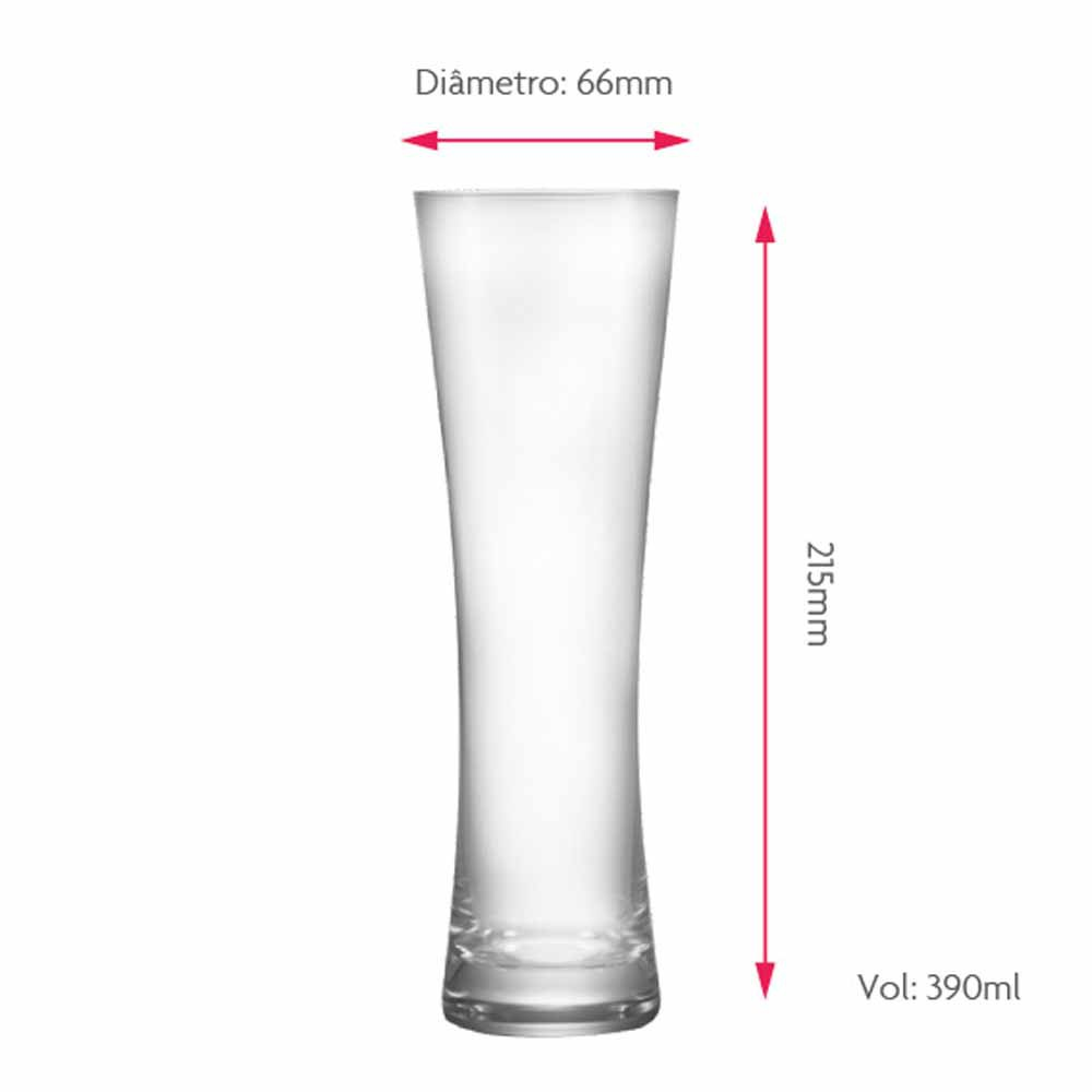 Copo de Cerveja de Vidro Blanc M 390ml 2 Pcs