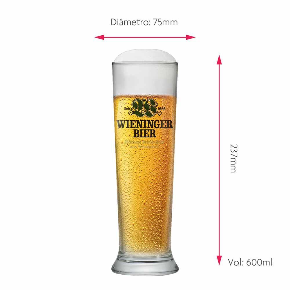 Jogo de Copos de Cerveja Frases Wieninger Bier Vidro 600ml