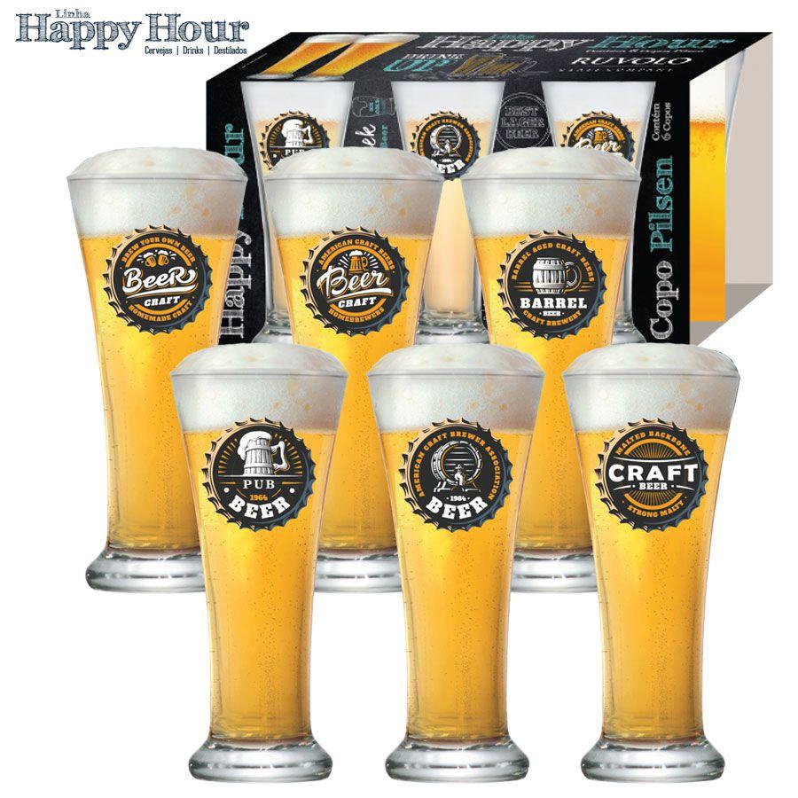 Jogo de Copos de Cerveja HH Pilsen 275ml Luva 6 Pcs