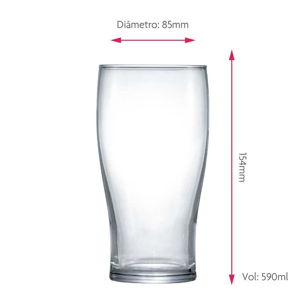 Jogo Copos Cerveja Pint Vidro 590ml 2 Pcs