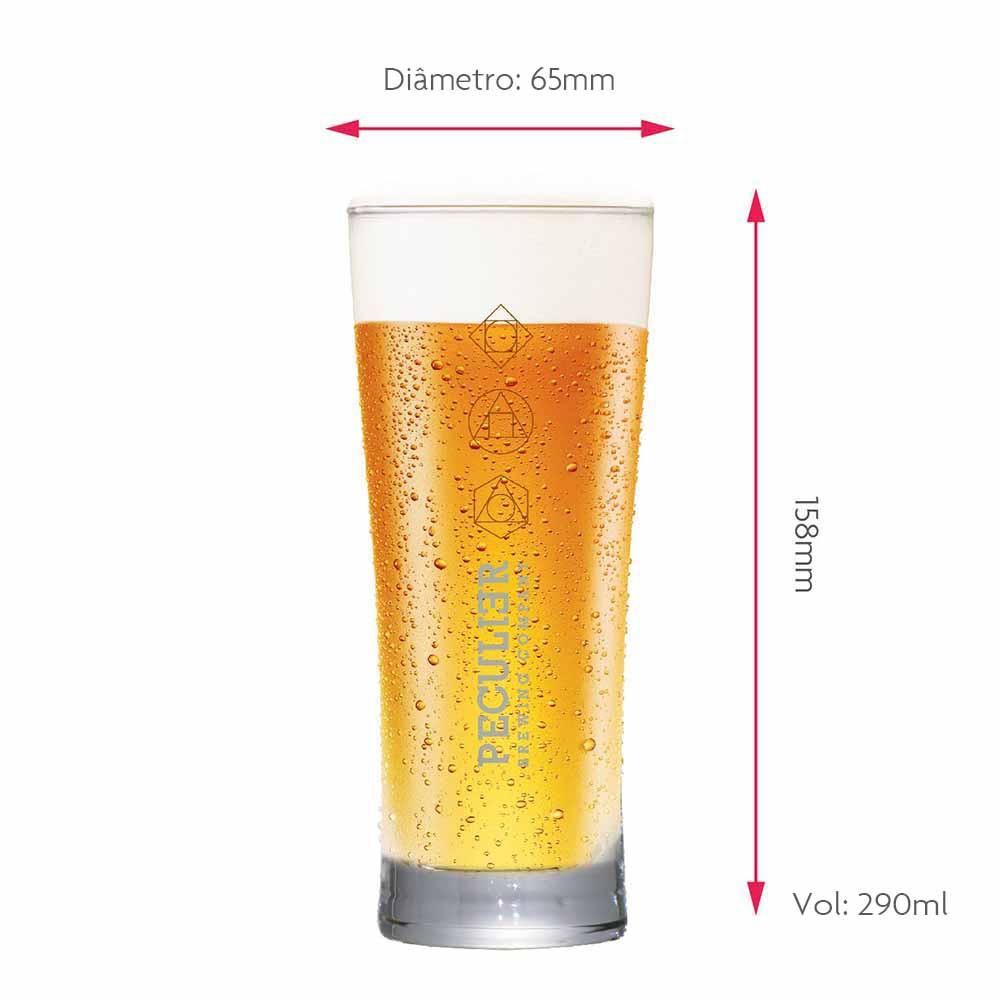 Jogo de Copos de Cerveja Rótulo Frases Peculier Vidro 290ml