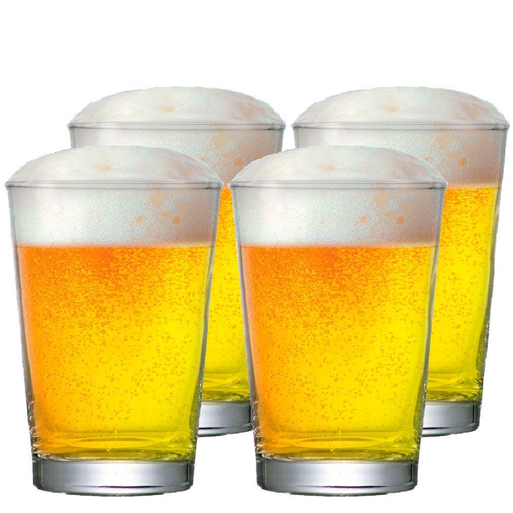 Jogo de  Copos de Cerveja Vidro Caldereta P 300ml 4 Pcs