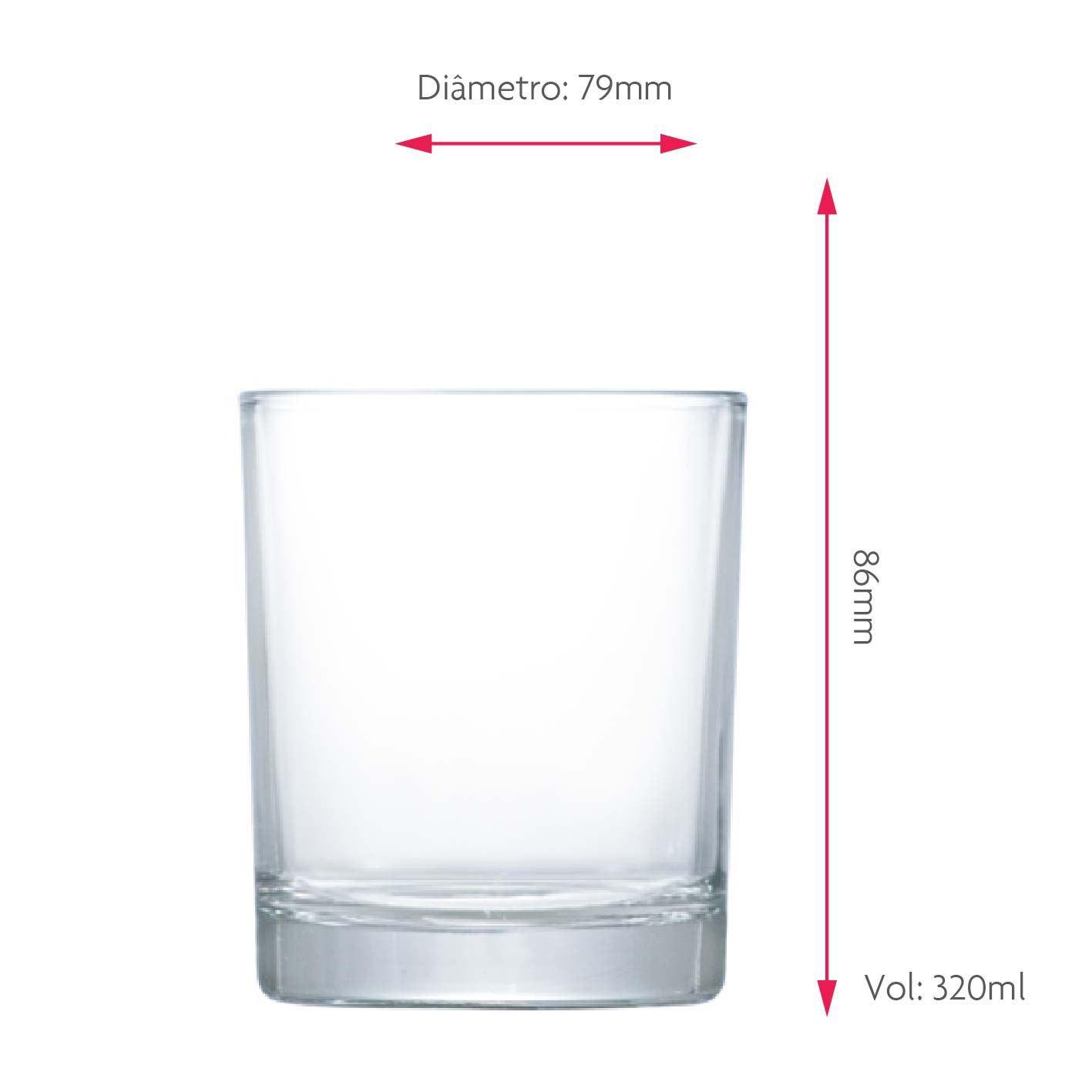 Jogo de Copos de Whisky de Vidro Prestige 320ml 6 Pcs