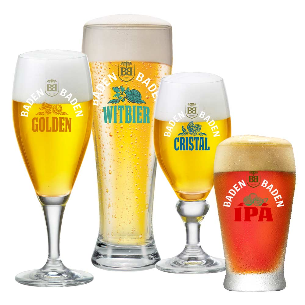 Jogo de Copos e Taças para Cervejas Baden Baden 4 Pcs