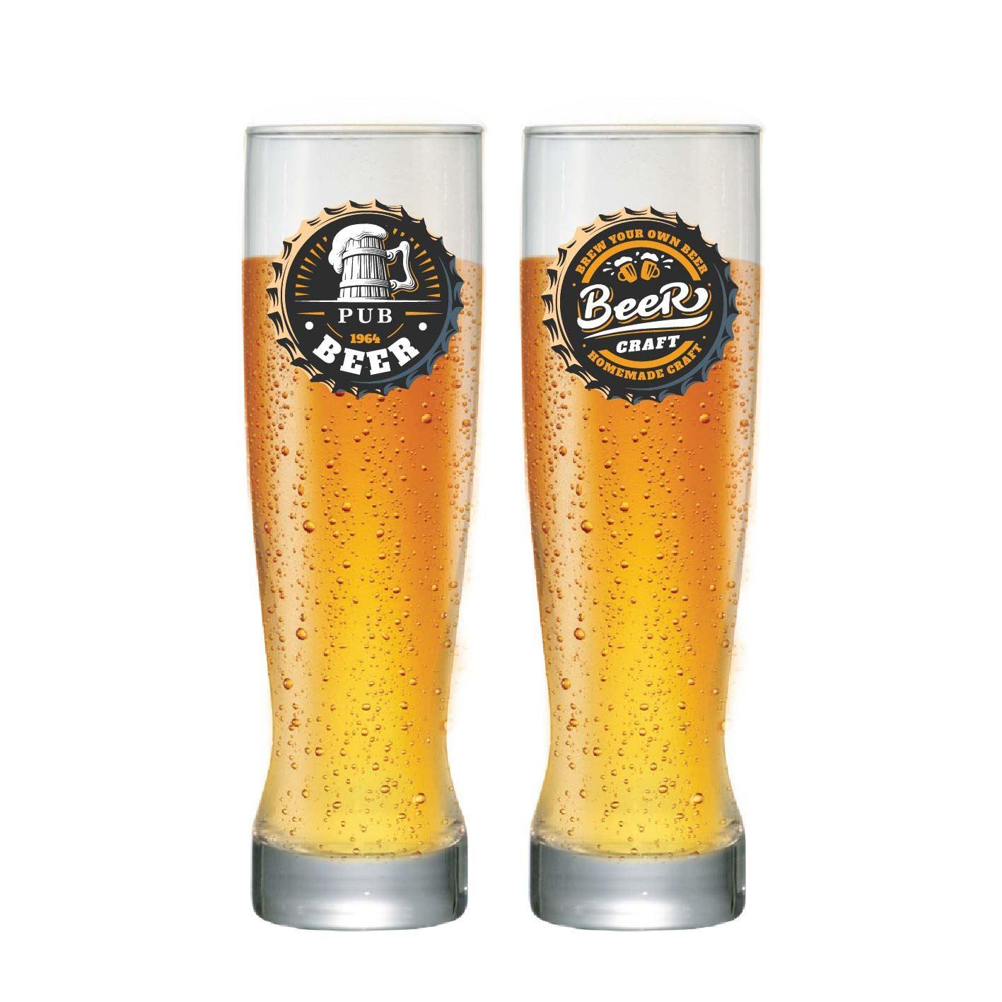 Jogo de Copos para Cerveja Frases Rótulo Genebra 400ml 2 Pcs