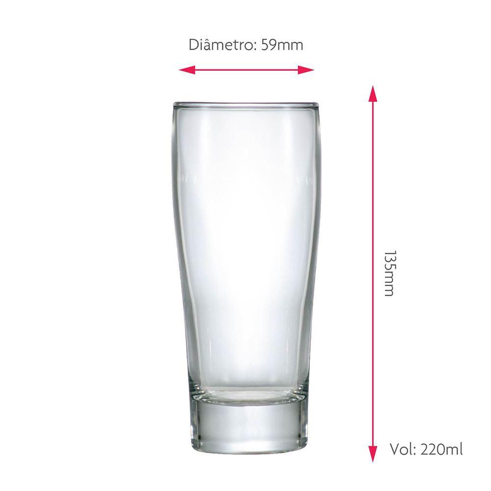 Jogo de Copos para Cerveja Frases Rótulo Prime P 220ml 2 Pcs