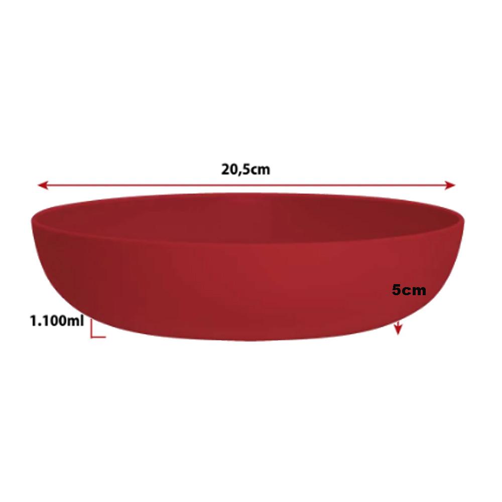 Jogo de Prato de Sopa de Plástico Vermelho 1.1 Litro 4 Pcs