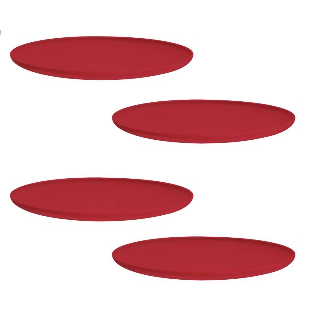 Jogo de Prato Raso de Sobremesa de Plástico Grande Vermelho 4 Pcs