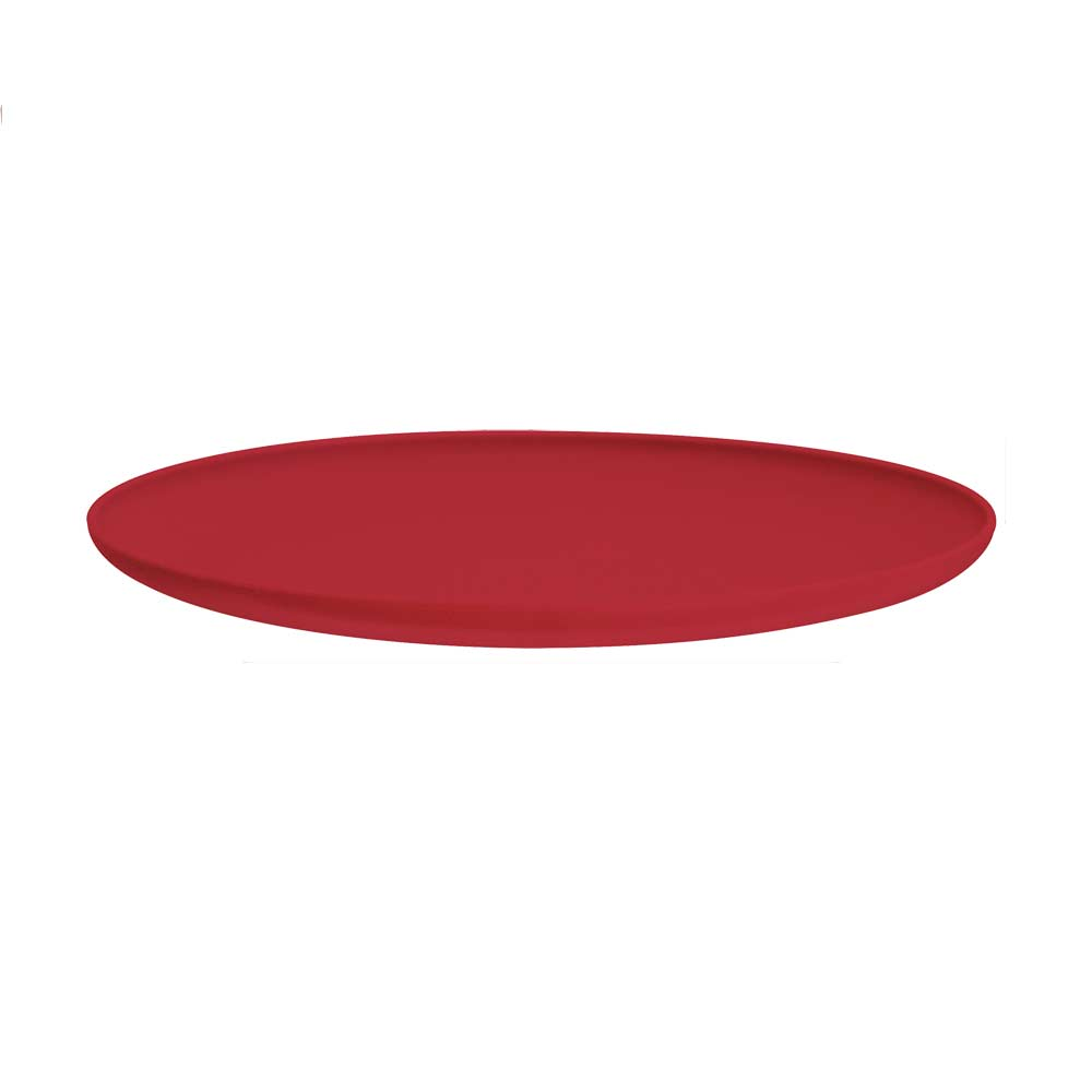 Jogo de Prato Raso de Sobremesa de Plástico Vermelho 4 Pcs