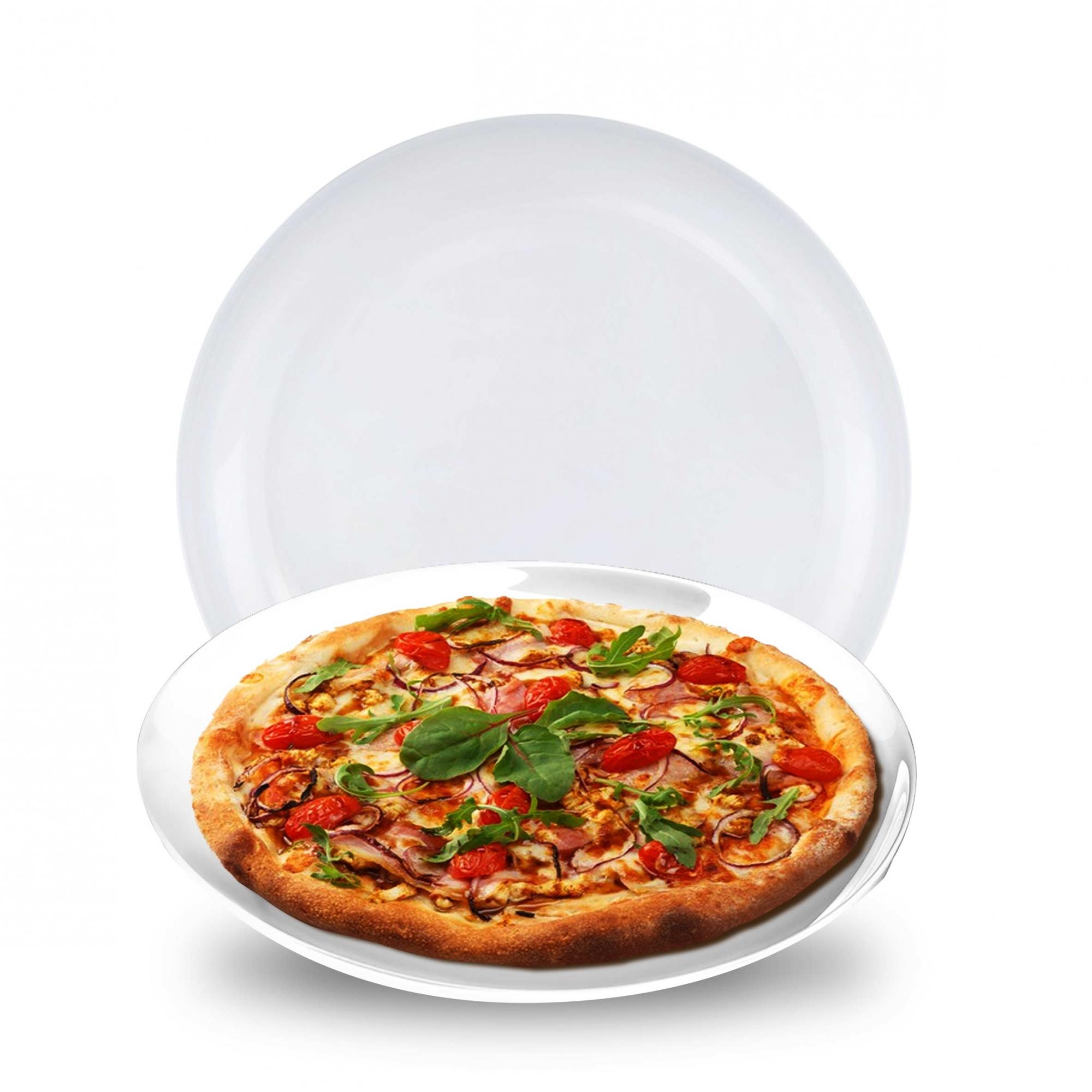 Jogo de Pratos de Vidro Branco Raso Opanile Redondo 2 Pcs para Bolo/ Pizza