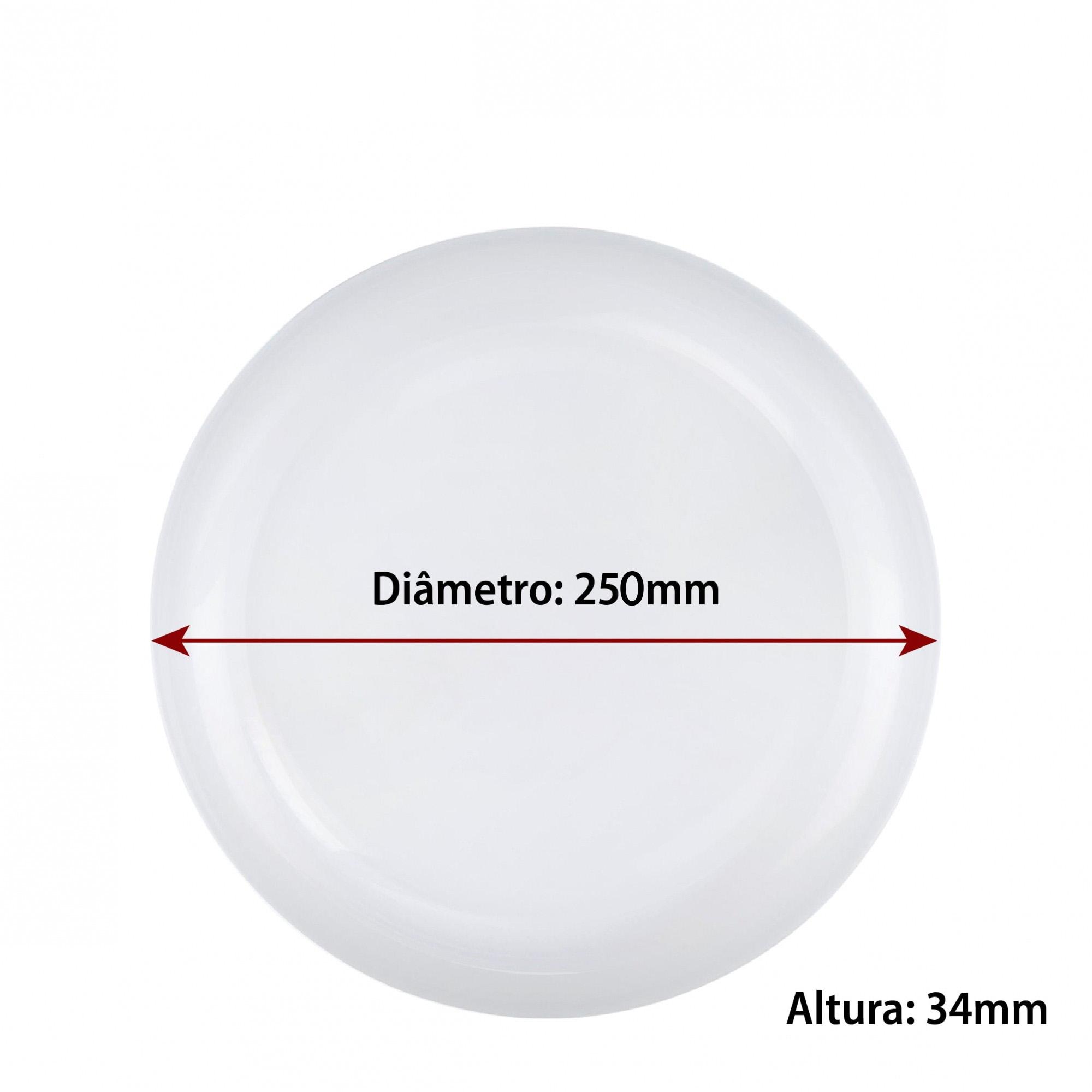 Jogo de Pratos de Vidro Branco Raso Redondo 25cm 6 Pcs