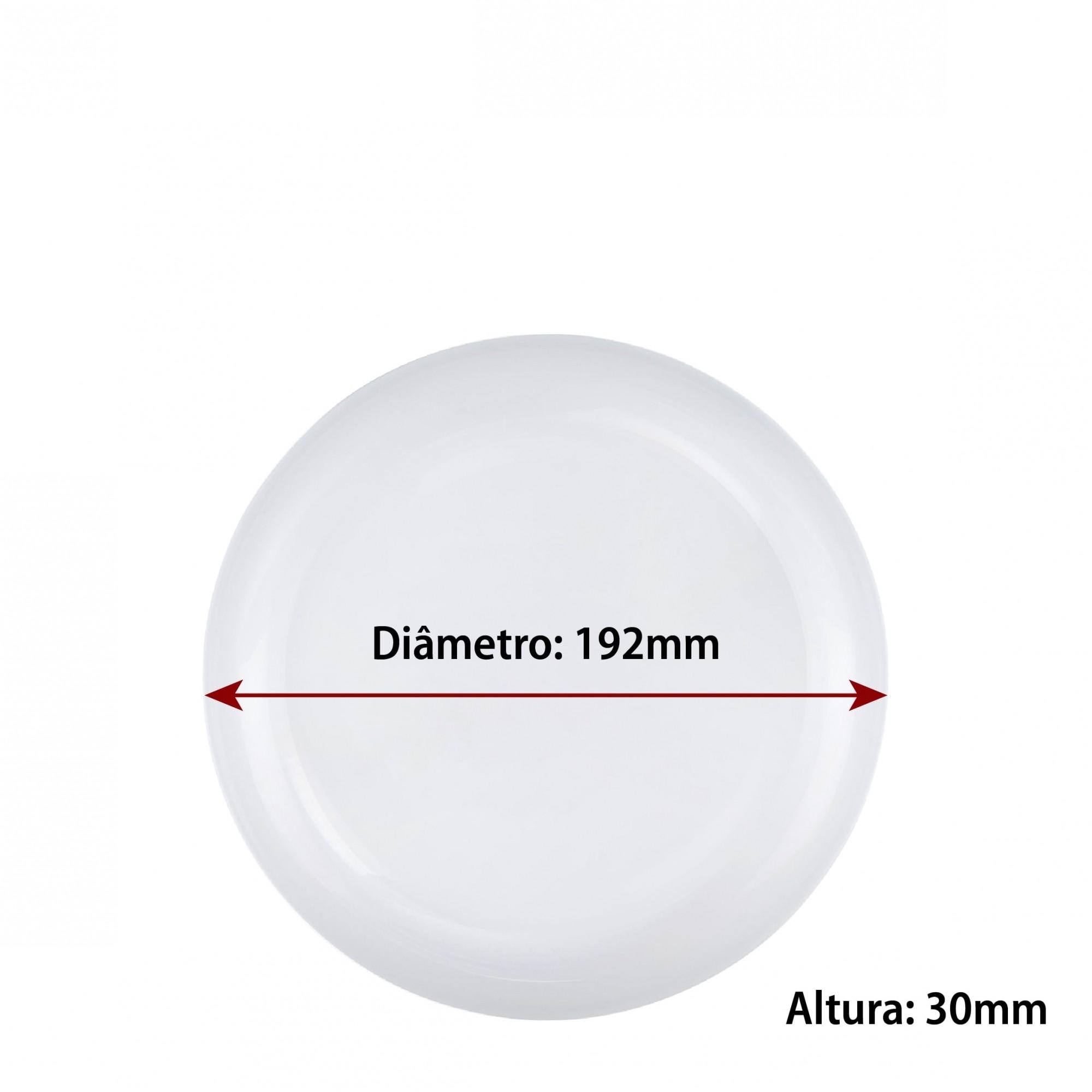 Jogo de Pratos de Vidro de Sobremesa Branco 19cm 6 Pcs